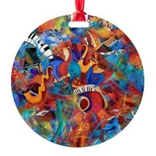 Jazz Music Trio Colorful Art Ornament Juleez