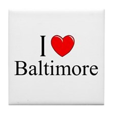 """I Love Baltimore"" Tile Coaster"