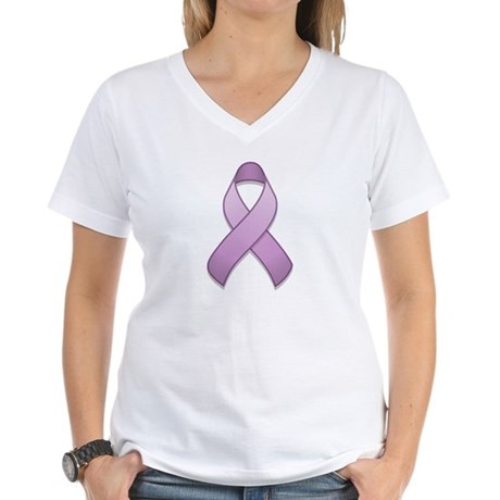 Lavender Awareness Ribbon Women's V-Neck T-Shirt