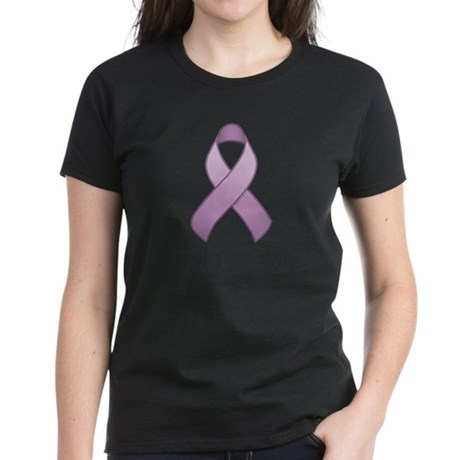 Lavender Awareness Ribbon Women's Dark T-Shirt