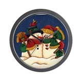 Snowman Love Wall Clock