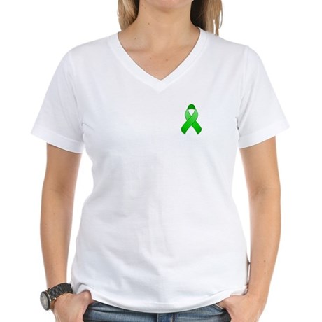 Green Awareness Ribbon Women's V-Neck T-Shirt