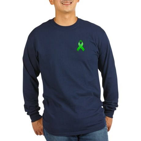 Green Awareness Ribbon Long Sleeve Dark T-Shirt