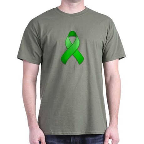 Green Awareness Ribbon Dark T-Shirt