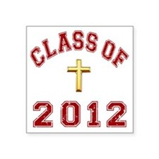 "CO2012 Cross Red Distressed Square Sticker 3"" x 3"""
