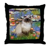 Lilies & Himalayan cat Throw Pillow