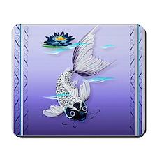 MensWalletWhite Koi-Blue Lily Mousepad