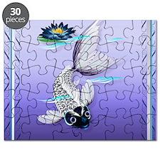 MensWalletWhite Koi-Blue Lily Puzzle