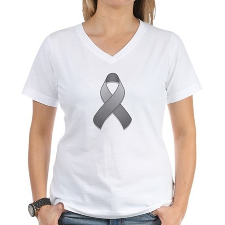 Gray Awareness Ribbon Women's V-Neck T-Shirt