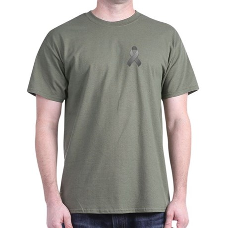 Gray Awareness Ribbon Dark T-Shirt