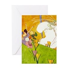 6 SPRING FAIRIES - wBORDER Greeting Card