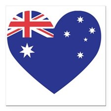 "Australian Heart Square Car Magnet 3"" x 3"""