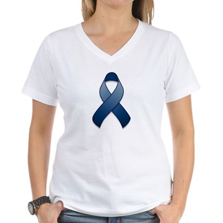 Dark Blue Awareness Ribbon Women's V-Neck T-Shirt