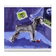 Schnauzer sees moon Tile Coaster