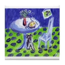 Schnauzer wants breakfast Tile Coaster
