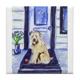 Wheaten waits at door tile Coaster
