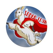 SUPER-LLAMA-THROW-PILLOW.gif Round Ornament