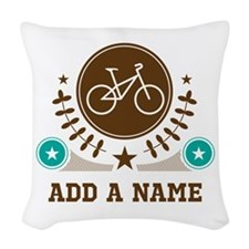 Personalized Biking Woven Throw Pillow