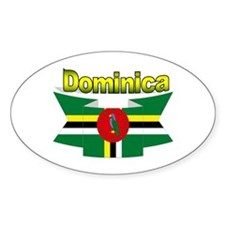 Dominica republic flag ribbon Oval Decal