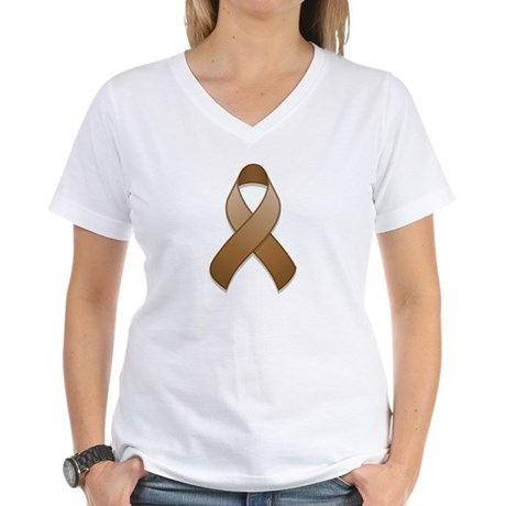 Brown Awareness Ribbon Women's V-Neck T-Shirt