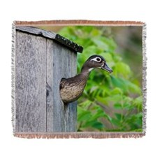 Wood Duck in Nesting Box Woven Blanket