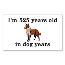 75 birthday dog years collie 2 Decal