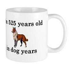 75 birthday dog years collie 2 Small Mugs