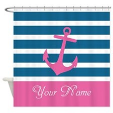 Pink Anchor On Stripe - Personalized Shower Curtai
