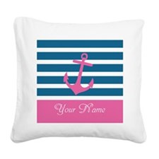 Pink Anchor On Stripe - Personalized Square Canvas