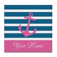 Pink Anchor On Stripe - Personalized Tile Coaster