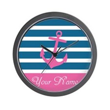 Pink Anchor On Stripe - Personalized Wall Clock