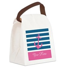 Pink Anchor On Stripe - Personalized Canvas Lunch