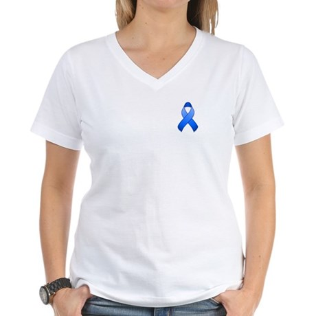 Blue Awareness Ribbon Women's V-Neck T-Shirt