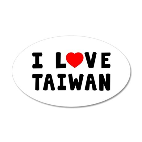 I Love Taiwan 35x21 Oval Wall Decal