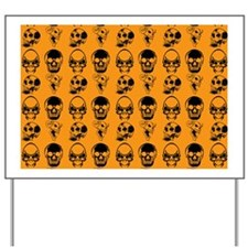 four skulls pillowcase orange Yard Sign