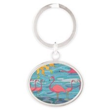 Seeing Pink Oval Keychain