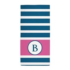 Monogram Pink White Stripes Beach Towel