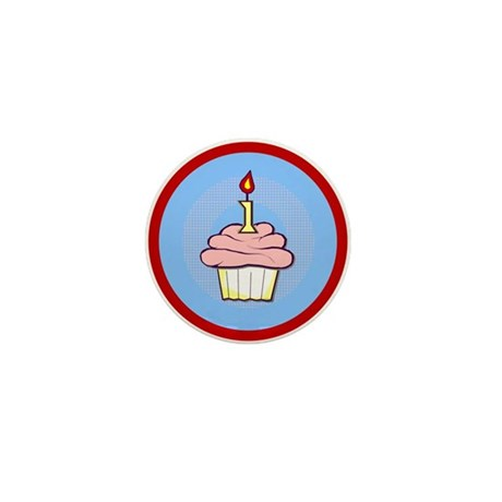 1st Birthday Cupcake (girl) Mini Button