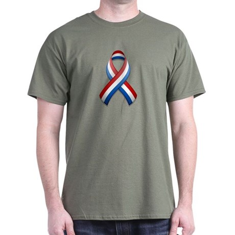 Red White & Blue Ribbon Dark T-Shirt