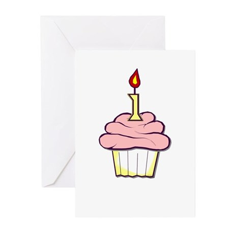 1st Birthday Cupcake (girl) Memory Cards (Pk 10)
