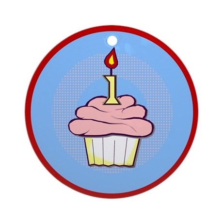 1st Birthday Cupcake (girl) Ornament (Round)