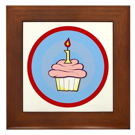 1st Birthday Cupcake (girl) Framed Tile