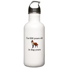 90 birthday dog years collie Water Bottle