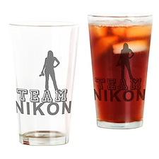 10x10_apparel.TEAM NIKON.gray copy Drinking Glass