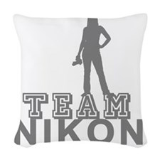 10x10_apparel.TEAM NIKON.gray  Woven Throw Pillow