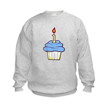 1st Birthday Cupcake (boy) Kids Sweatshirt
