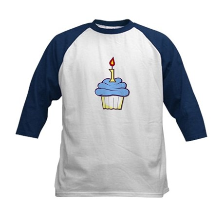 1st Birthday Cupcake (boy) Kids Baseball Jersey