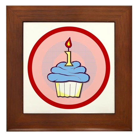 1st Birthday Cupcake (boy) Framed Tile