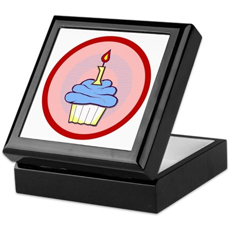 1st Birthday Cupcake (boy) Keepsake Box