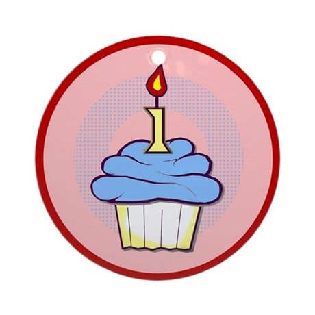 1st Birthday Cupcake (boy) Ornament (Round)